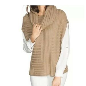 WHBM CAMEL RIBBED KNIT PONCHO w/ Removable…